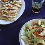 grilled shrimp quesadilla. lobster and avocado salad. Delicious!!