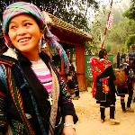 Walking to the villiages with a Hmong woman
