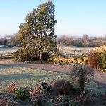 Farmhouse garden in the frost