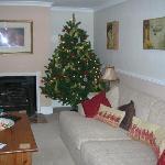 lounge with Christmas tree