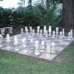 Chess set on the back lawn