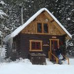 Pioneer Guest Cabin at Christmas