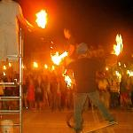 fire-torch jugglers on Mallory Sq
