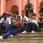 Some kids at the Red Fort. They took some photos with us, but alas, we'll never see them. No tim
