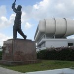 Keningston Oval Stadium and the statue of Garfield Sobers (a very famous cricket player) stands