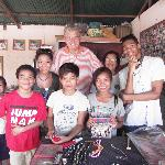 With the grandkids and the children of the orphanage