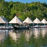 River Tour Boat Docked At Resort