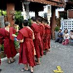 Monks bless the house for properity