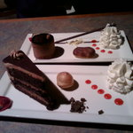 belgian chocolate cake with mousse frosting & chocolate torte