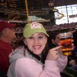 At the Brewers game, drinking responsibly, just like the cup says.