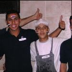 Amr Saied 2nd from left - excellent staff at pool bar before Egypt - Algeria match