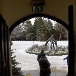 Snow and fountain outside the main entrance