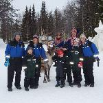us with reindeer man at snow hotel