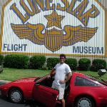 me and my Elvis bro James visiting the Lone Star Flight Museum, Galveston, Texas, Aug 14, 2001