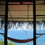 view from bed in bali house