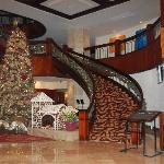 The lobby decorated during Christmas