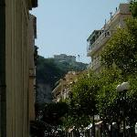 you can see hotel from centre of town, right on top of hill - there's a shuttle bus though!