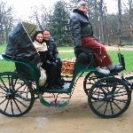 Me with my wife on the trip in a carriage
