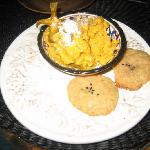 Pumpkin sorbet and seasame cookies!