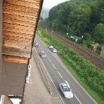 out the window- how close the trains are