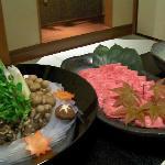 Kobe beef shabu shabu dinner.