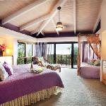 The Aloha Suite has a King bed and a private lanai with ocean views