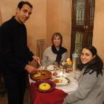 the guests (Peggy & Liza) in the riad restaurant enjoy a delicious meal
