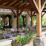 View of the covered outdoor patio from the front