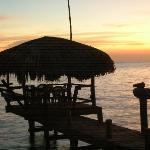 Sunset and the Palapa Hut, Bite on the Beach, Roatan Honduras