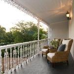 The verandah overlooking historic Van Riebeeck Street
