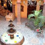 inthe open courtyard