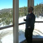 Me standing in front of window at Winter Park Mountain Lodge