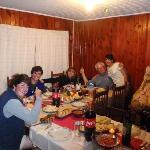 Carola serves the lavish and festive dinner