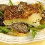Tiella con patate, funghi cardoncelli e mozzarella (Piatto storico di Terranima)