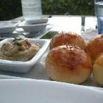 the roasted hummus and fresh-baked buns
