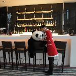 Taipei Taoyuan Airport Novotel - Charlie guards the lobby bar! (Jan '10)