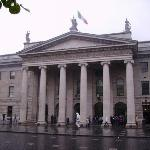The Post Office on O'Connel St. Dublin. There are still bullet holes in the pillars from the Eas