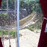 The hammock outside.