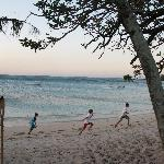 The blue lagoon and beautiful beach with kids being kids