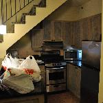 Kitchen of bi-level suite.