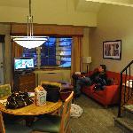Living room of bi-level suite.