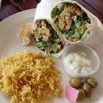 Falafel Supreme vegetarian wrap with tzaziki and almond/raisin rice