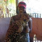 me - holding a leopard