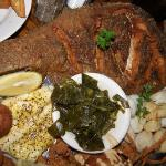 Whole flounder, scallops, best crabcake, snapper, oyster, shrimps, and collard greens