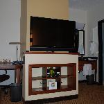 TV (swivels) & Office Area (includes fridge)