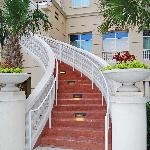 Stairway to main building from pool area