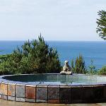 Our open-air slate spa, with 1000 gals and 4 ft deep, overlooks the ocean