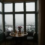 Although it is snowing outside, sitting inside the dinning room area is just great!