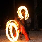 fire dancing show after dinner