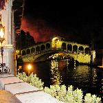 The night of the Redentore Festival.  The fireworks light up the sky behind the Rialto